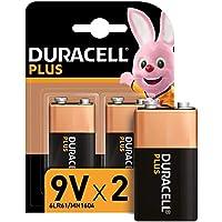 Duracell - Plus 9V, Pilas Alcalinas (paquete de 2) 1.5 Voltios 6LR61 MX1604