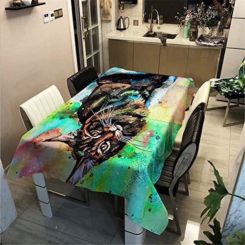 SONGHJ Polyester Baumwolle Gedruckt Tier Katze Tischdecke Küche Hause wasserdichte Tischdecke Festliche Halloween Dekoration Tischdecke B 60x60cm / 24x24in (Herr Der Ringe Katze Kostüm)
