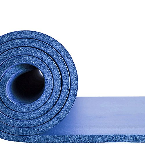 EXERCISE MAT NBR 15mm Thickness YOGA FITNESS WORKOUT PILATES CAMPING with carry strap (BLUE)