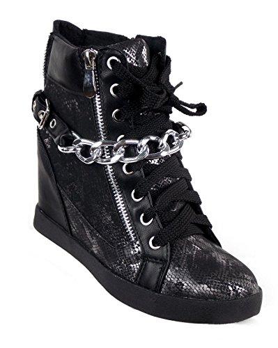 (if she Damen Halbstiefel Reißverschluss Schnürer Stiefeletten Keilabsatz schwarz Kette, Farbe:Schwarz, Größe:40)