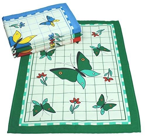 Betz. Set di 4 pezzi. Asciugapiatti con il motivo Farfalla, colori: blu, rossa, verde. Misura 50 x 70 cm