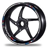 FELGENRANDAUFKLEBER passend für BMW S 1000 RR Motorrad - Moto GP Style blau-rot (GP Race V)