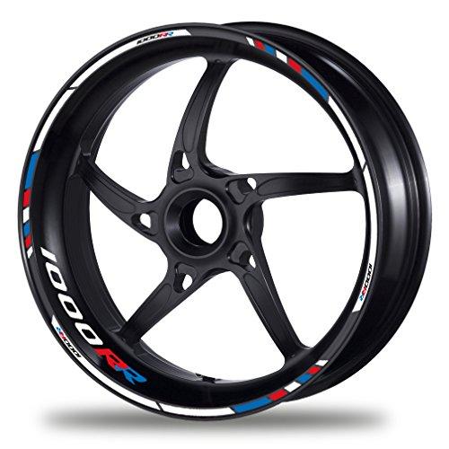 FELGENRANDAUFKLEBER passend für BMW S 1000 RR Motorrad - Moto GP Style blau-rot (GP Race)