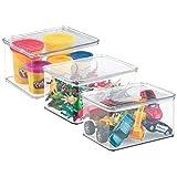 mDesign Juego de 3 organizadores de juguetes con tapa - Cajas de almacenaje para guardar juguetes bajo la cama o en las estanterías de la habitación infantil - Juguetero de plástico transparente