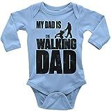 Mikalino Babybody My Dad is The Walking Dad Langarm 100% handbedruckt in Deutschland - bei 60 Grad waschbar - mit Spruch, Farbe:Sky, Grösse:56