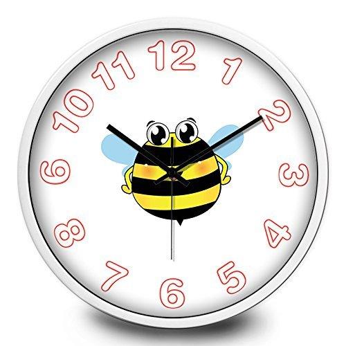(Jiaa Wanduhr für Wohnzimmer Biene Kinder Elektronische Quarz Geschenk Home Decor, 14 Zoll, Metall Schwarz Weiß Box)