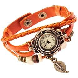 Orange Ladies Womens Plaited Leather Strap Fashion Leaf Wrist Watch by VAGA®