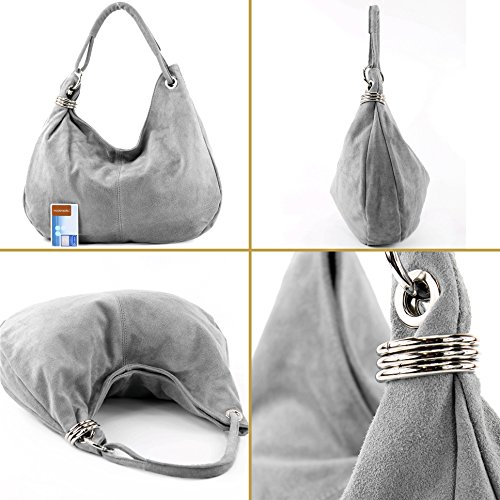 Borsa In Pelle Con Tracolla Shopper Bag Suede Big T02 Grigio