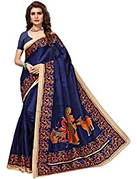 Pisara Women's Khadi Silk Kalamkari Printed Saree With Blouse Piece,Blue Sari