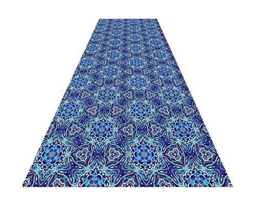 Hausflur, Durchgangsteppich, Langer Teppich, Blaue Töne, Geometrische Muster Saugfähig Rutschfest Zuschneidbar Mischgewebe Polsterauflagen Klubhaus Wohnzimmer Schlafzimmer Flur Gang Vorraum Vestibül - - Home Trends Geometrischen Teppich