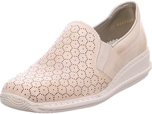 RIEKER Damen Mocassins, Ballerinas, beige, 941867-8 Hell-Grau