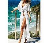 WLG Camicetta femminile di protezione del sole dei vestiti della spiaggia del sole della vacanza del vestito dal nuovo vestito chiffon sexy dal pizzo,bianca,Codice medio