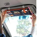 Tuopuda Auto Sonnenblende Tasche Sonnenschutz Sonnenblendentasche Organiser Leinwand Aufbewahrung Tasche für Handys Visitenkarten Scheckkarten Parkscheine
