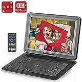 DR.Q 14,1-Zoll Tragbarer DVD-Player mit 6000mAh wiederaufladbare Batterie, 270-Grad HD Schwenkbildschirm, Fernbedienung, 5.9ft Auto-Ladegerät, SD-Kartensteckplatz, USB-Anschluss und mehreren unterstützten Disc-Formaten