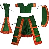 Fancyflight Green Bharatnatyam Classical Dance Costume For Girls Fancy Dress Competitions /Annual Functions/ School Events (10-12 Years)