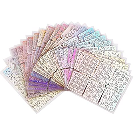 72 Design Nail Vinyls Stencil Sticker Set 144 Pieces Fashion Nail Art Decals Nail Vinyls Nail Stencil Sheets ,24 Sheet By