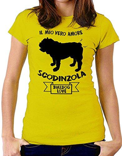 Tshirt Il mio vero amore scodinzola - bulldog love - dog - humor - tshirt simpatiche e divertenti - Tutte le taglie by tshirteria Giallo