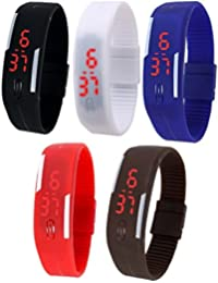RTimes Set of 5 Multicolor Jelly Slim Digital LED Watch For Men