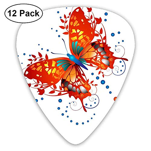 Classic Guitar Pick (12 Pack) Orange Pot Butterfly Player's Pack for Electric Guitar,Acoustic Guitar,Mandolin,Guitar Bass -