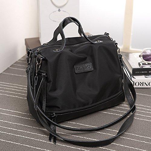 X&L Frauen- lässig Oxford Tuch Leder Lokomotive Tasche Schulter Tasche Handtasche 32 * 12 * 22 Black