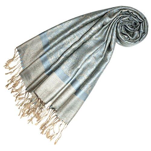 LORENZO CANA Designer Pashmina hochwertiger Markenschal jacquard gewebtes Paisley Muster 70 x 180 cm Modal harmonische Farben Schaltuch Schal Tuch 93218 (Seide Italienischer Schal)