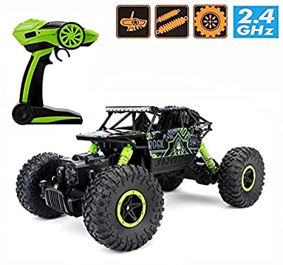2.4Ghz 1/18 RC Electric Rock Crawler Vehicle Rechargeable Buggy Car 4 WD Shaft Drive High Speed Remote Control Monster Off Road Truck RTR