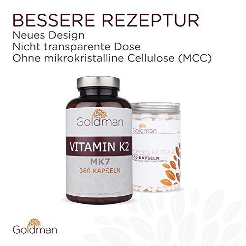 Goldman Vitamin K2 MK7 200µg • 12 Monate Vorrat • Menaquinon Kapseln hochdosiert • Nahrungsergänzung vegan, glutenfrei, laktosefrei • Frei von mikrokristalline Cellulose • Made in Germany