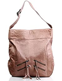 FEYNSINN sac bobo HALEY - XL - Sac bandoulière - Sac à main hobo chamelle-beige en cuir véritable
