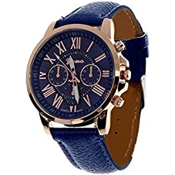 JACKY Women's Roman Numerals Faux Leather Analog Quartz Wrist Watch Dark Blue