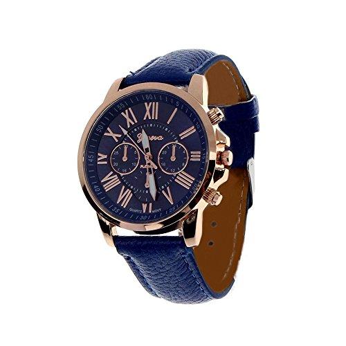 Fortan 2016 Frauen Kunstleder analoge Quarz-Armbanduhr-Dunkelblau - Frauen Watchs Xoxo
