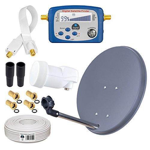 HB-DIGITAL Sat-Komplett-Set: Mini Sat Anlage 40cm Schüssel Anthrazit + LNB 0,1 dB + 10m Kabel + SAT-Finder Digitale Anzeige, vergoldete Anschlüsse + Fensterdurchfürung Weiß + F-Stecker + Gummitülle