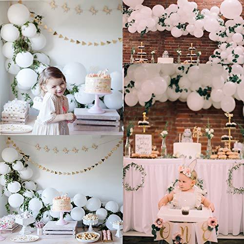 ekoration, Brautdusche, Babyparty, Hochzeit, 1. Geburtstag Taufe Partydekoration aus Latex Partyballons 102 Ballons 3 Wimpel Fahnen 20 künstliche Blätter für Bachelorette ()
