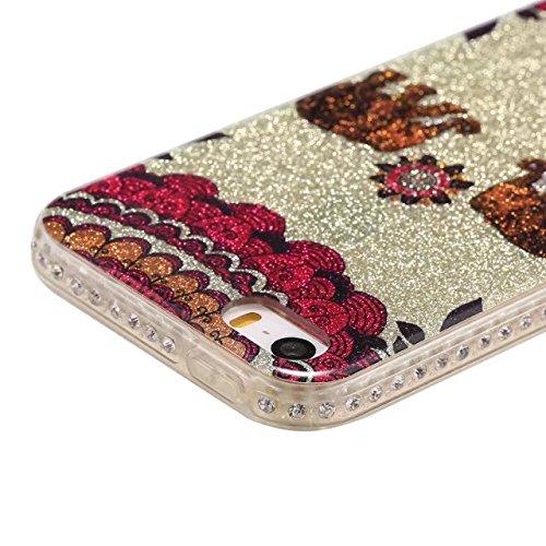 Bling Sparkle Glitter Rhinestone Resin Diamant Schützende Rückseite Cover Case Soft TPU Shell Stoßfänger [Shock Absorbtion] für iPhone 5s & SE ( Color : F ) C