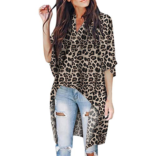 Damen Leopard Kurzarm-T-Shirt, LeeMon Frauen V-Ausschnitt Irregular Kurzarm T-Shirt mit Leopardenmuster Top Blusen -
