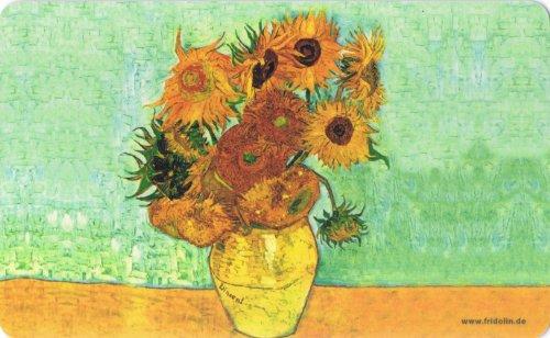 Fridolin 12227 Van Gogh un campo di girasoli, Tagliere in melamina, colore: multicolore, 23,5 x 14,5 x 0,2 cm