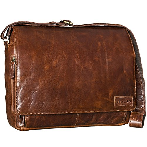 STILORD \'Rick\' Schultertasche Leder für 15,6 Zoll Laptop Umhängetasche Aktentasche Bürotasche Unitasche Büffel-Leder, Farbe:antik - braun