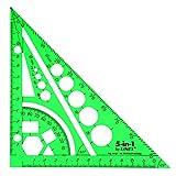 Linex Réf LXG5IN1 Règle/équerre/compas/rapporteur Vert (Import Royaume Uni)