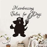 Parrucchiere per Cani Citazioni Creative Adesivo murale Cani Toelettatura Negozio di Animali Arte da Parete Rimovibile Divertenti Decalcomanie Home Art Decor Grigio 87x87 cm