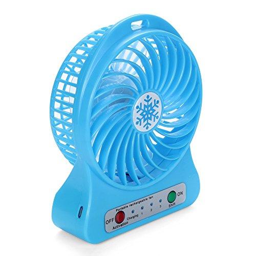LIMITA Tragbarer wiederaufladbarer LED-Lichtlüfter-Luftkühler Mini-Schreibtisch-USB-18650-Akku-Lüfter (Blau)