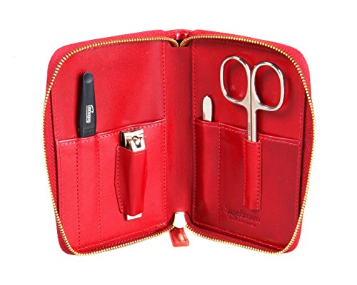 SageBrown Red Zip Around Manicure Set