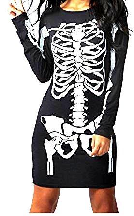 Damen Halloween Skelett Knochen Kleid Body Anzug Overall Leggings Plus 36-48