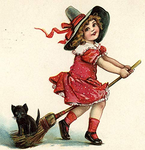 VVIANS Cushion Cover Throw Pillow case Retro Vintage Girl Halloween Witch ha pet Black cat Kitten Riding Broom Cute Funny Both Sides Image zipper16X16 inch