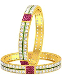 Sukkhi Stylish Invisible Setting Two Line Solitaire Gold Plated American Diamond Bangle For Women