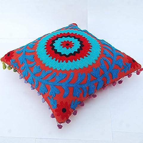 Designer Suzani cotone ottomano Suzani federa decorativi vintage indiano pouf, 16