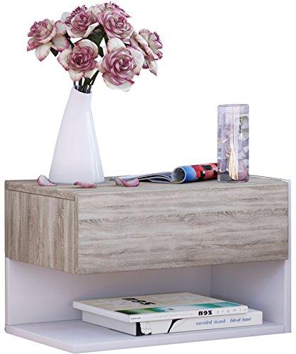 VCM Wand Nachttisch Nachtschrank Beistelltisch Tisch Nacht Kommode Konsole Holz sonoma-eiche/weiß 30x46x30 cm Dormal