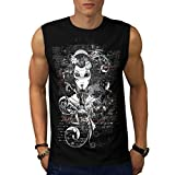Gothic Asian Lady Geisha World Men NEW Black White Grey Red Navy S-2XL Sleeveless T-shirt | Wellcoda