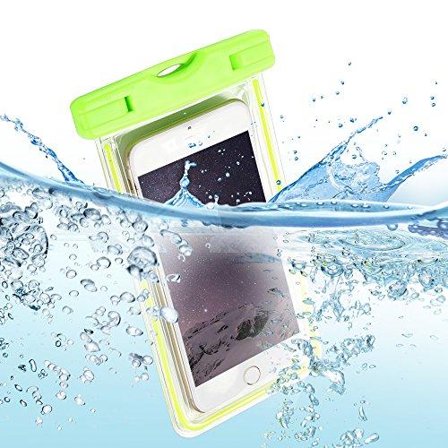 Pochette Étanche Certifiée IPX8 , E-Lush Coque Housse Etui Sac étanche Universel Waterproof Imperméable Sac Étanche Protection Contre la Submersion Enveloppe Coque Case Cover pour Apple iPhone 6 / 6S  Verte