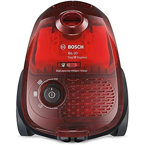 Bosch BGL2UB1108 GL-20 Bag & Bagless - Aspirador sin bolsa, diseño compacto, 600 W, color rojo