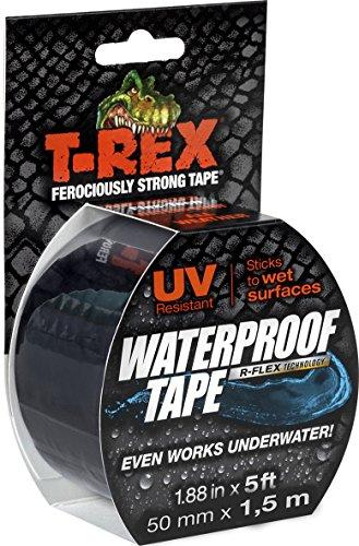 T-REX 827-00 Waterproof Tape | Wasserdichtes, UV-stabiles und witterungsbeständiges Klebeband mit R-Flex Technologie für wasserfeste Reparaturen im Innen- und Außen-Bereich | 1 Rolle, 50 mm x 1,5 m