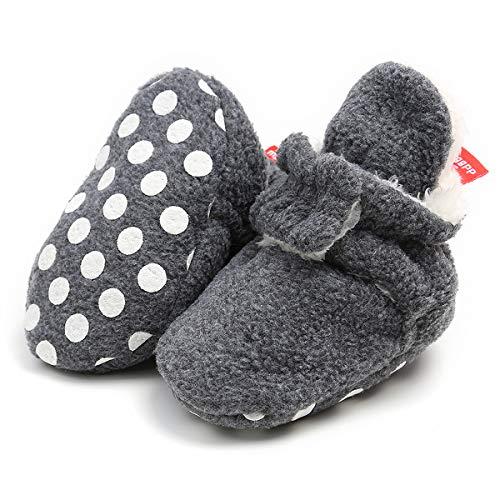 Adorel Baby Hausschuhe Gefüttert Anti-Rutsch Klettverschluss Dunkelgrau 18/19 EU Schmal (Herstellergr. 3) -
